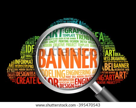 BANNER word cloud with magnifying glass, business concept - stock photo
