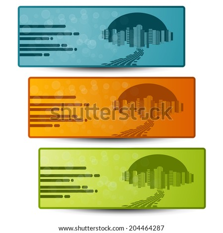 banners with design of city - stock photo