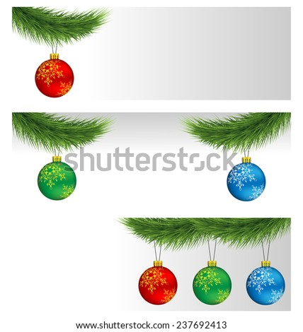 Banners with multicolored Christmas balls on pine branches - stock photo