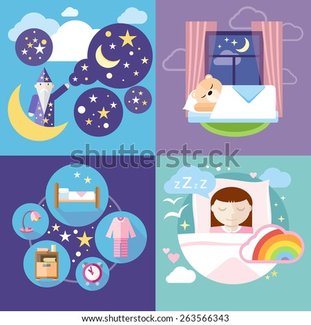 Banners with sleeping time, night time, sweet dreams and sleep tight concepts icons in cartoon style. Little cute girl sleeping in her bed with toys. Raster version - stock photo