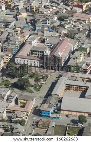BANOS DE AGUA SANTA - POPULAR DESTINATION IN ECUADOR, SOUTH AMERICA, THE CITY COVERED BY ASH FROM TUNGURAHUA VOLCANO EXPLOSION   - stock photo
