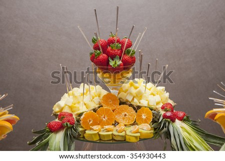 banquet fruits composition  - stock photo