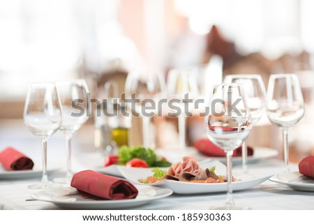 Banquet setting table in restaurant - stock photo