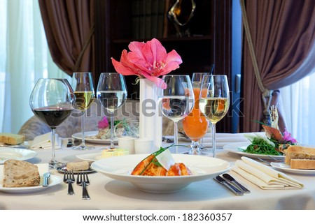 Banquet table in a restaurant - stock photo