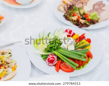 Banquet table served with delicious food. Fresh vegetable, tomatoes, cucumber, sweet pepper, greens and cheese on the plate - stock photo