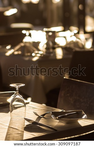 banquet tables setting at a restaurant - stock photo