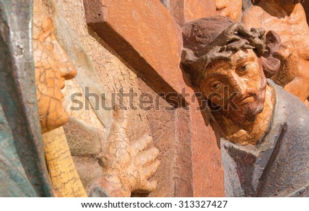 BANSKA STIAVNICA, SLOVAKIA - FEBRUARY 5, 2015: The detail of carved relief Jesus meets his mother as the part of baroque Calvary from years 1744 - 1751 by Dionyz Stanetti. - stock photo