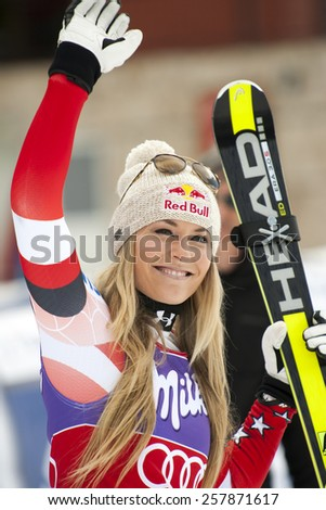 Bansko,Bulgaria - March 2, 2015: Lindsey Vonn (USA) is happy with the 3 th place at the Audi FIS Alpine Ski World Cup Ladies' Super G on March  2, 2015 in Bansko, Bulgaria - stock photo