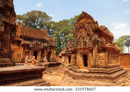 Banteay Srei - 10th century Cambodian temple dedicated to the Hindu god Shiva, located in the area of Angkor in Cambodia.  - stock photo