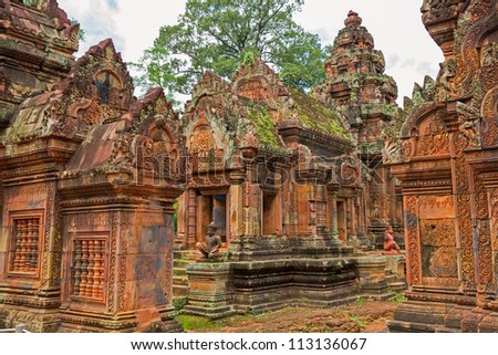 Banteay Srei Wat wide angle detailed view, Siem Reap, Cambodia - stock photo