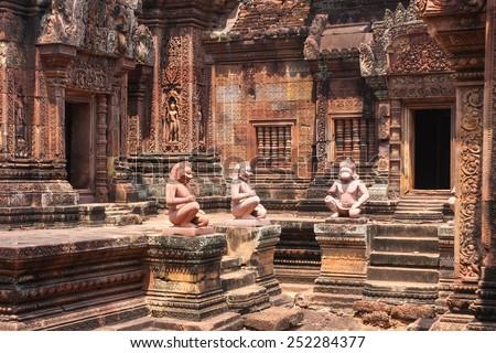 Bantey Srei temple, Angkor city, Cambodia - stock photo