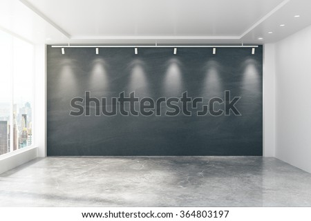 Baordroom interior with blank wall and window, mock up 3D Render - stock photo