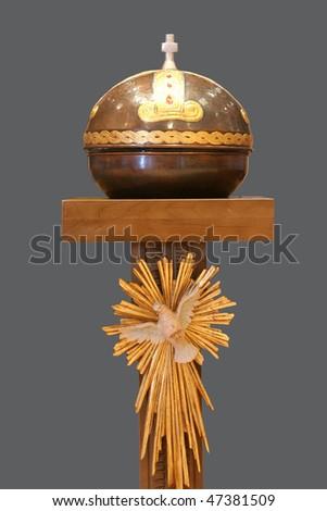 Baptismal font in the catholic church - stock photo