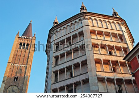 Baptistery and tower on Piazza del Duomo, Parma, Italy - stock photo