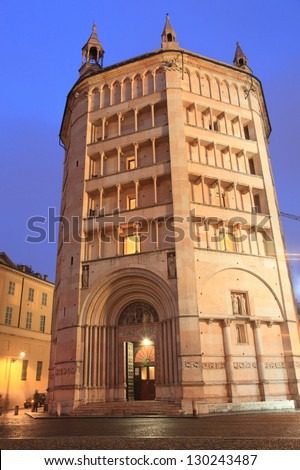 Baptistery on Piazza del Duomo at twilight in Parma, unesco world heritage in Italy - stock photo