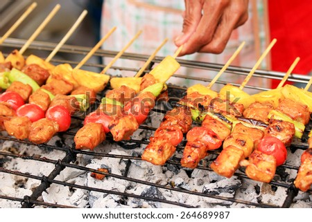 Bar-B-Q or BBQ grill of meat - stock photo