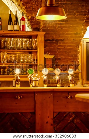 Bar Beer Tap in Germany.Shallow depth of field/Bar Beer Tap, Germany - stock photo