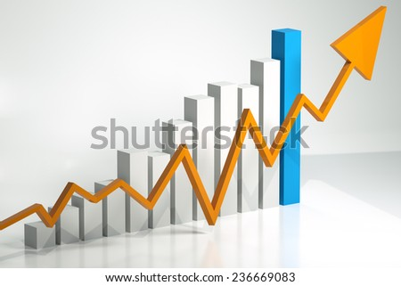 Bar chart and arrow depicting growth of profits - stock photo