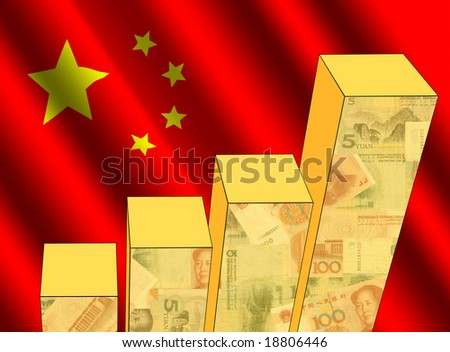 bar chart and rippled Chinese flag with currency illustration - stock photo