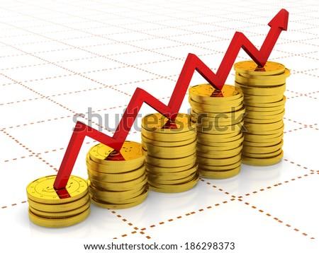 bar chart diagram of golden dollar coins. 3d render. - stock photo