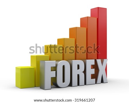 Bar chart in front of the word FOREX silver color - stock photo