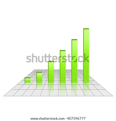 Bar chart of rising profits on grid surface, green bars, 3d raster diagram illustration - stock photo