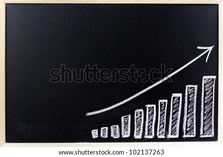 Bar chart on blackboard. Sales growth - stock photo