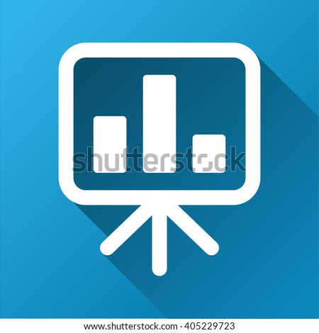 Bar Chart Presentation Board glyph toolbar icon for software design. Style is a white symbol on a square blue background with gradient long shadow. - stock photo