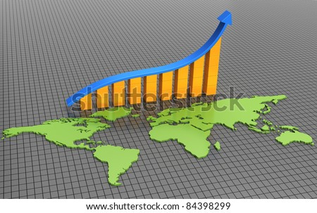 Bar chart with a map of the world - stock photo