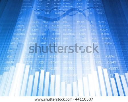 Bar Chart with Financial Data at High Angle - stock photo