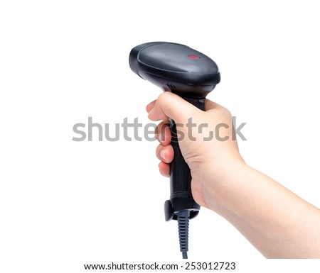 bar code scanner in woman's hand isolated on white background - stock photo
