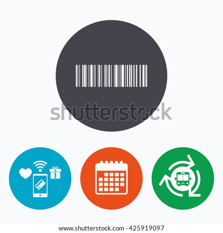 Bar code sign icon. Scan code symbol. Coded word - success! Mobile payments, calendar and wifi icons. Bus shuttle. - stock photo