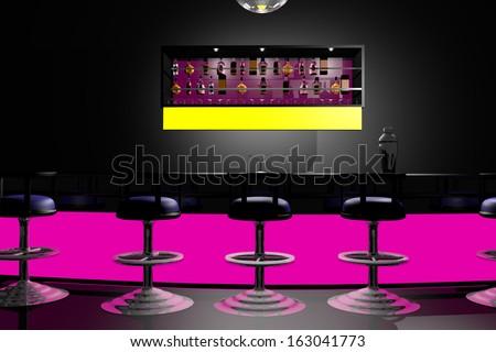 Bar/Disco 3d-render - stock photo