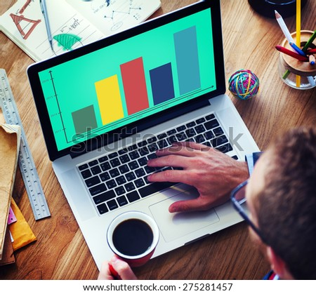 Bar Graph Analysis Achievement Improvement Strategy Success Concept - stock photo