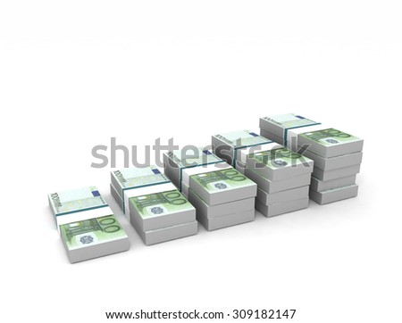Bar graph chart. Euro banknotes isolated on white background - stock photo