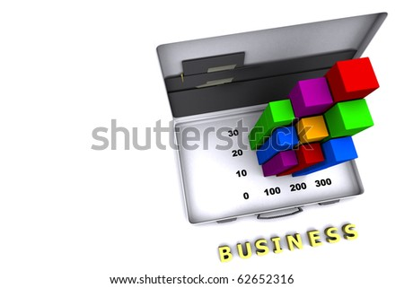 bar graph showing business report - stock photo