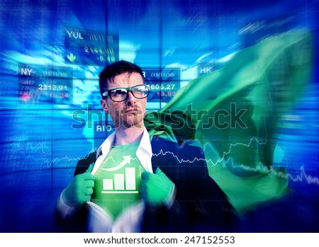 Bar Graph Strong Superhero Success Professional Empowerment Stock Concept - stock photo