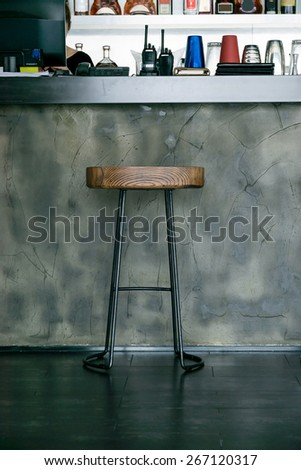 Bar in new luxury home, complete with chairs wine glasses, beer, - stock photo