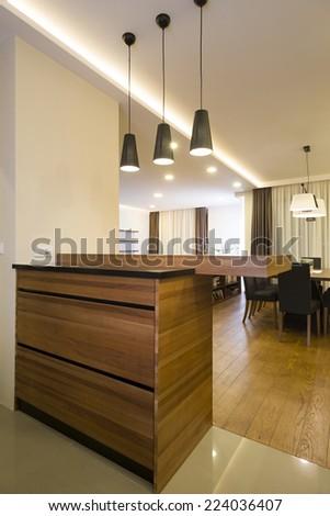 Bar in specious apartment interior - stock photo