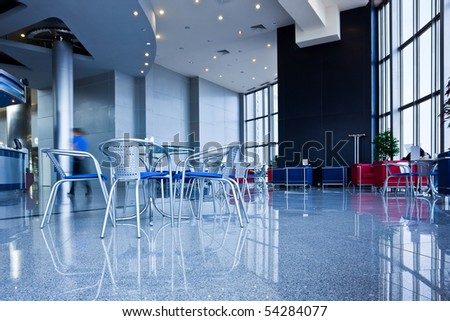 Bar interior in modern office centre - stock photo
