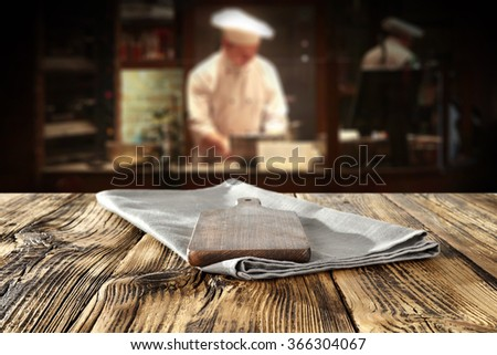 bar interior with chef of kitchen and shabby chic  - stock photo