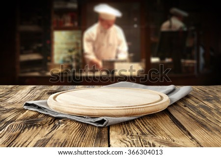 bar interior with chef of kitchen and space for your food and desk top  - stock photo