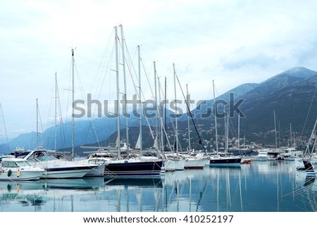 Bar, Montenegro, March, 28, 2016: Boats and yachts in a berth of Bar - stock photo