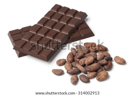 Bar of chocolat with cocoa beans on white background - stock photo