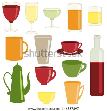 Bar set of cups and glasses isolated on white. Raster version. - stock photo
