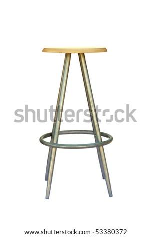 Bar stool isolated on white - stock photo
