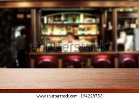 bar with waiter and brown free top  - stock photo