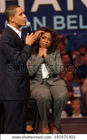 Barack Obama, Oprah Winfrey attending Barack Obama Campaign Rally for Democratic Presidential Primary with Oprah Winfrey, The Verizon Wireless Arena, Manchester, NH, December 09, 2007 - stock photo