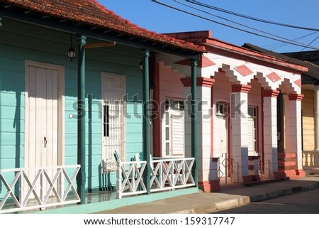 Baracoa, Cuba - colonial architecture. Colorful street view. - stock photo