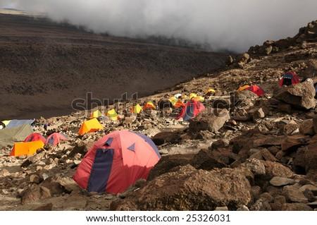 Barafu camp on Machame route. Mount Kilimanjaro, Tanzania. - stock photo